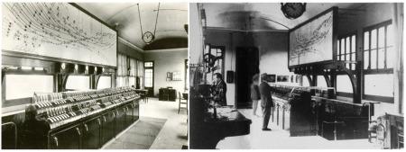 Dues imatges de l'interior del edifici pont amb la taula d'enclavaments