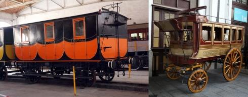 Comparació entre un cotxe de ferrocarril i un cotxe de diligencia