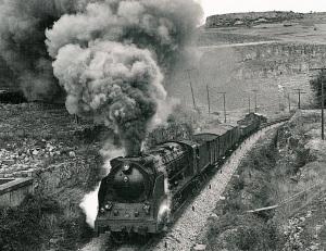 Locomotora Santa Fe en ple esforç